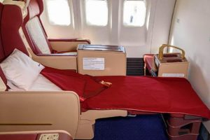 lie-flat bed inside an aircraft cabin